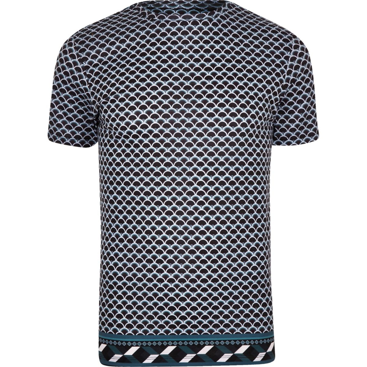 Navy slim fit geo print T-shirt