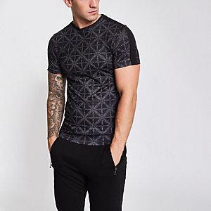 Schwarzes Slim Fit T-Shirt mit Print