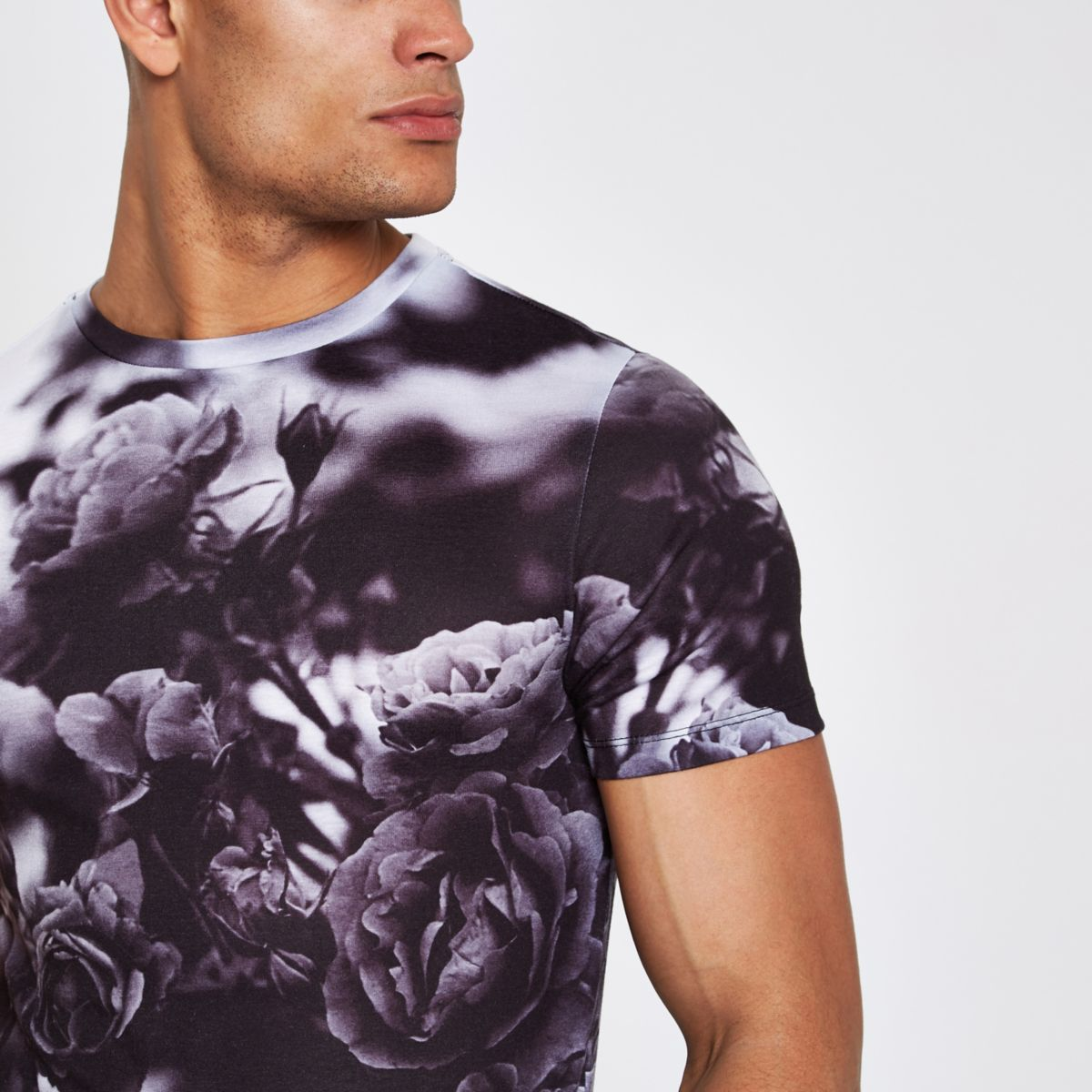 Black monographic print muscle fit T-shirt