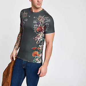 Black muscle fit side floral print T-shirt