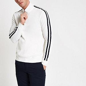 White funnel zip neck tape side sweatshirt