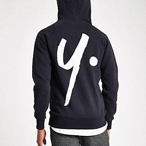 Year Dot navy logo back print hoodie
