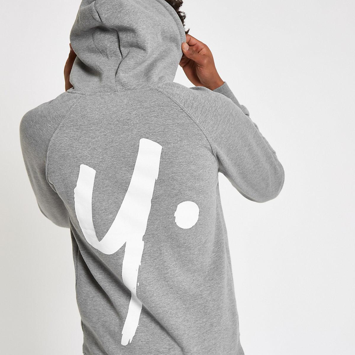 Year Dot grey logo back print hoodie