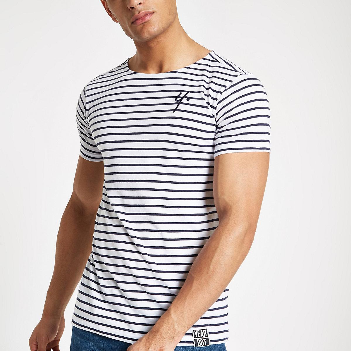 Year Dot white stripe T-shirt