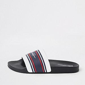 Witte 'Prolific' slippers met streep