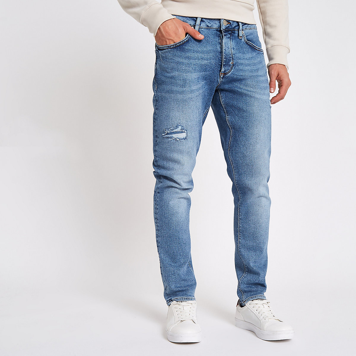 Mid blue Dylan distressed slim fit jeans