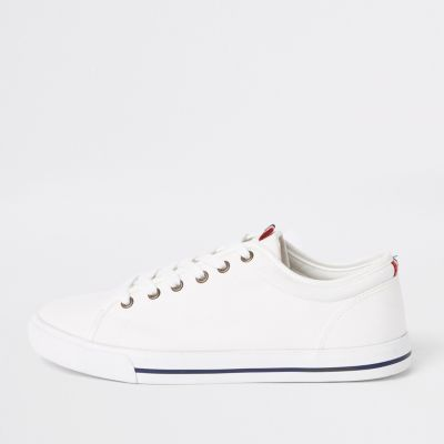 White Canvas Lace Up Plimsolls by River Island