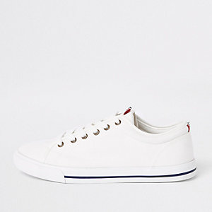 a419401946c White canvas lace-up plimsolls