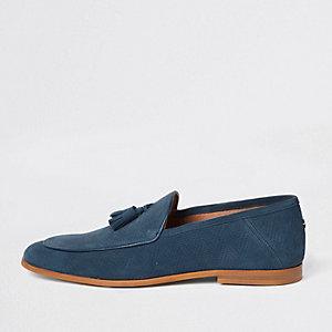 Blauwe suède loafers met geborduurde wesp