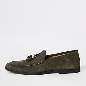 Khaki suede tassel loafers
