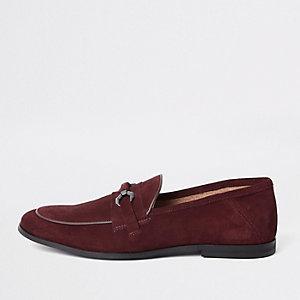 Dunkelrote Wildleder-Loafer