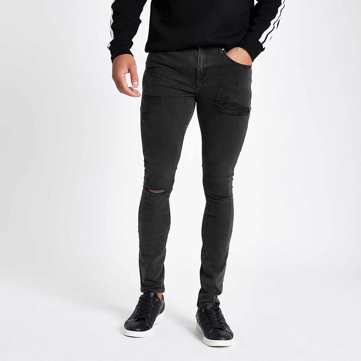 Black spray on ripped Ollie jeans