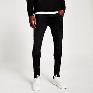 Ollie – Schwarze Skinny Jeans im Used-Look