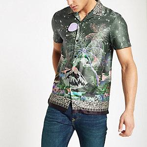 Kaki overhemd met bloemenprint en revers