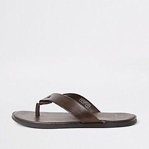 Dark brown leather flip flop sandals