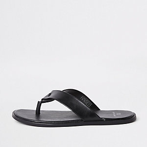 Black leather flip flop sandals