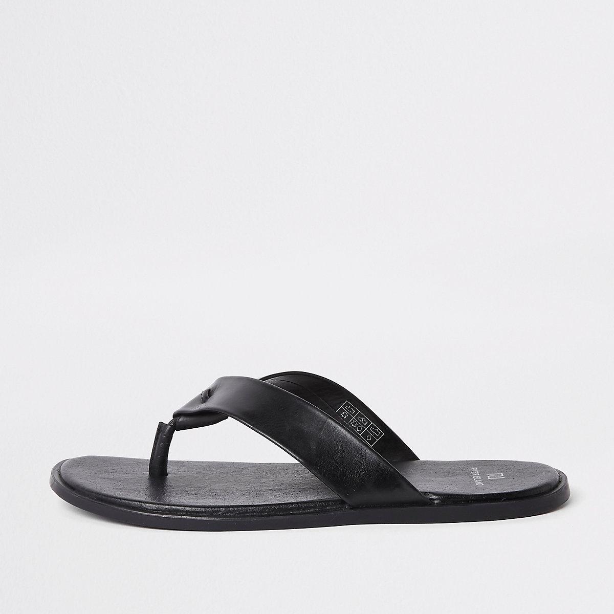 Black leather flip flop sandals