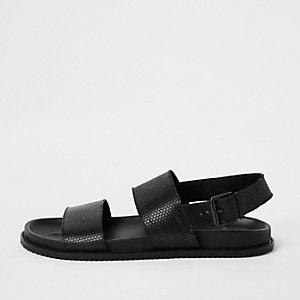 Sandales en cuir noir à deux brides