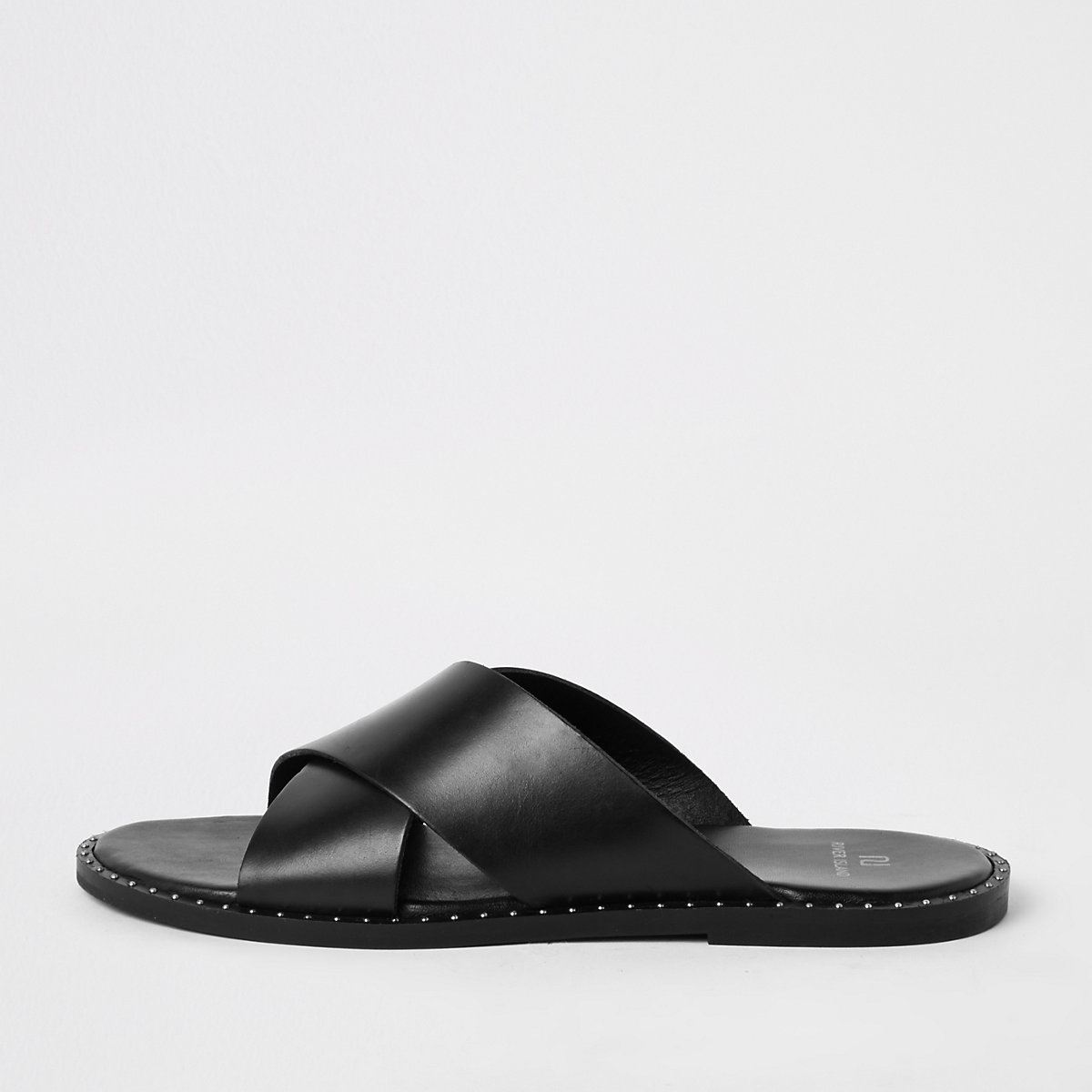 Black leather cross over sandals