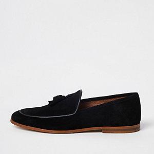 Zwarte suède loafers met kwastjes