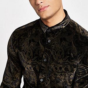 Black velvet printed shirt