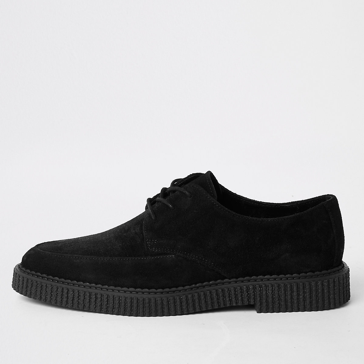 Black suede embossed chunky creeper shoes