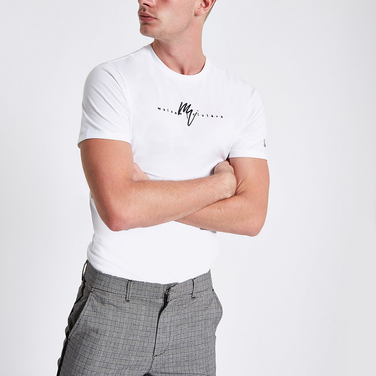 White embroidered slim fit crew neck T-shirt