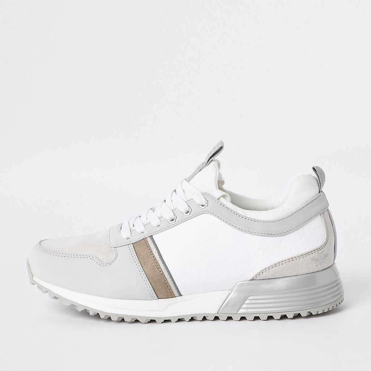 White contrast 'MCMLXXVI' lace-up trainers