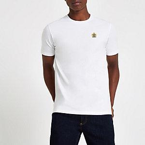 T-shirt slim blanc à broderie et col ras-du-cou