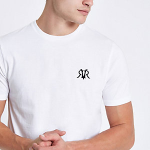 White flock print muscle fit T-shirt