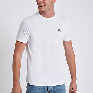 White slim fit embroidered crew neck T-shirt