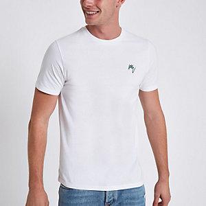 Wit slim-fit geborduurd T-shirt met ronde hals