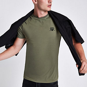 Khaki green flock print muscle fit T-shirt
