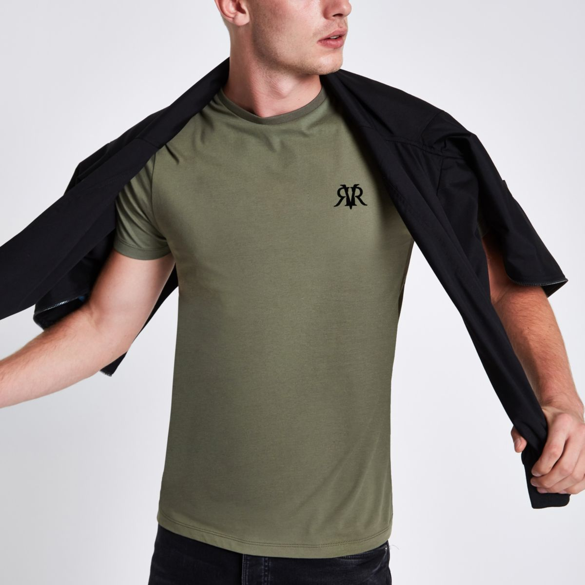 Khaki green flock print muscle fit T-shirt