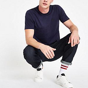 Marineblaues Slim Fit T-Shirt mit Rundhalsausschnitt