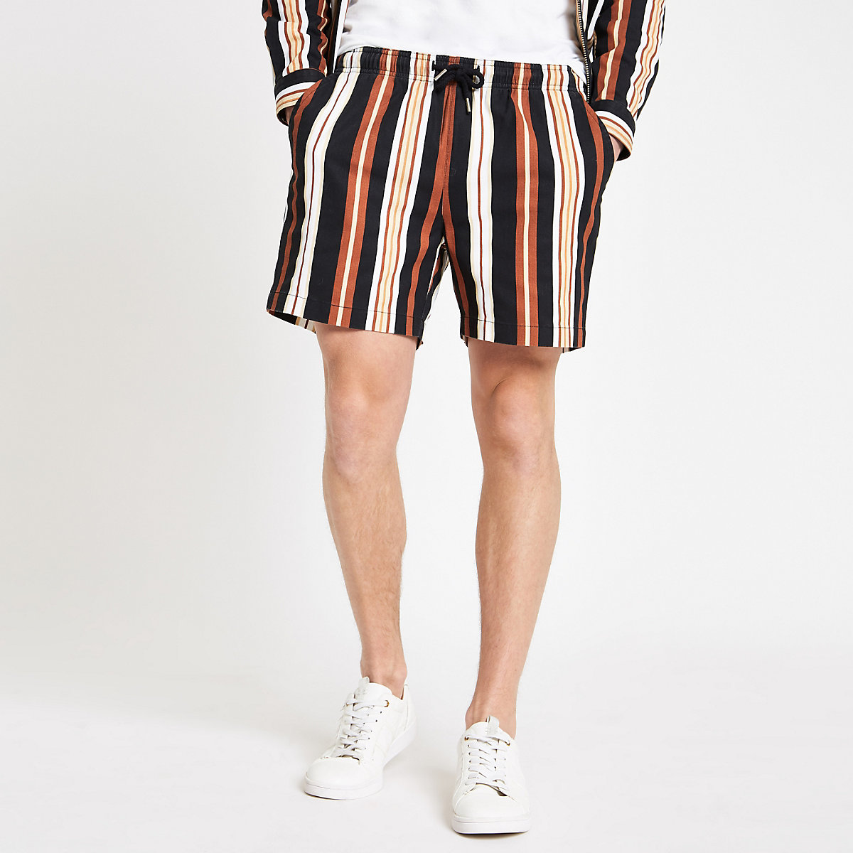 Black stripe pull on shorts