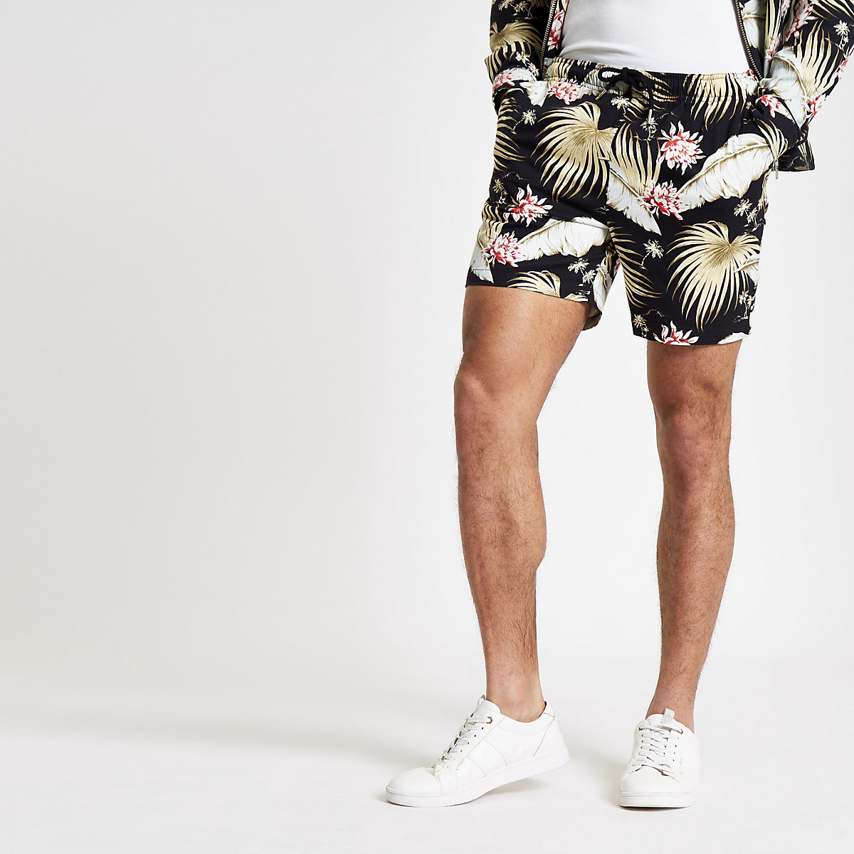 Black floral pull on shorts