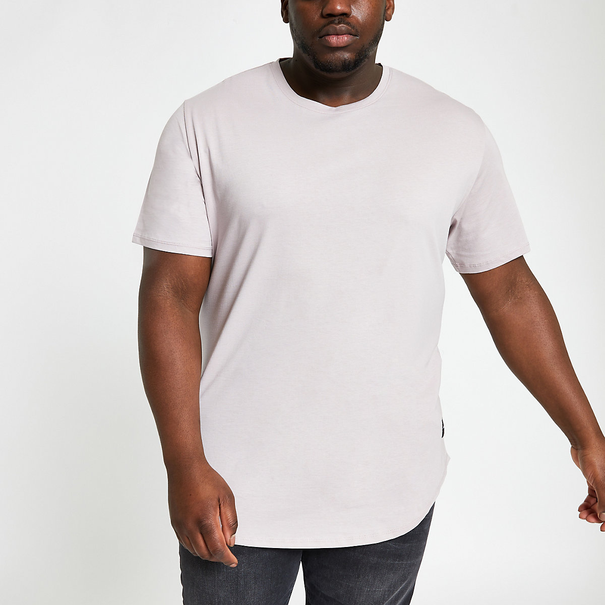 Only & Sons Big and Tall grey long T-shirt