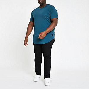 Only & Sons – Big & Tall – Blaues, langes T-Shirt