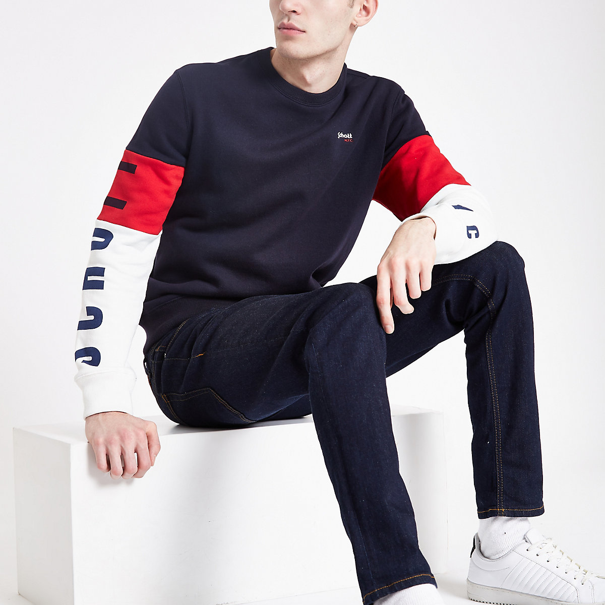 Schott navy block sweatshirt