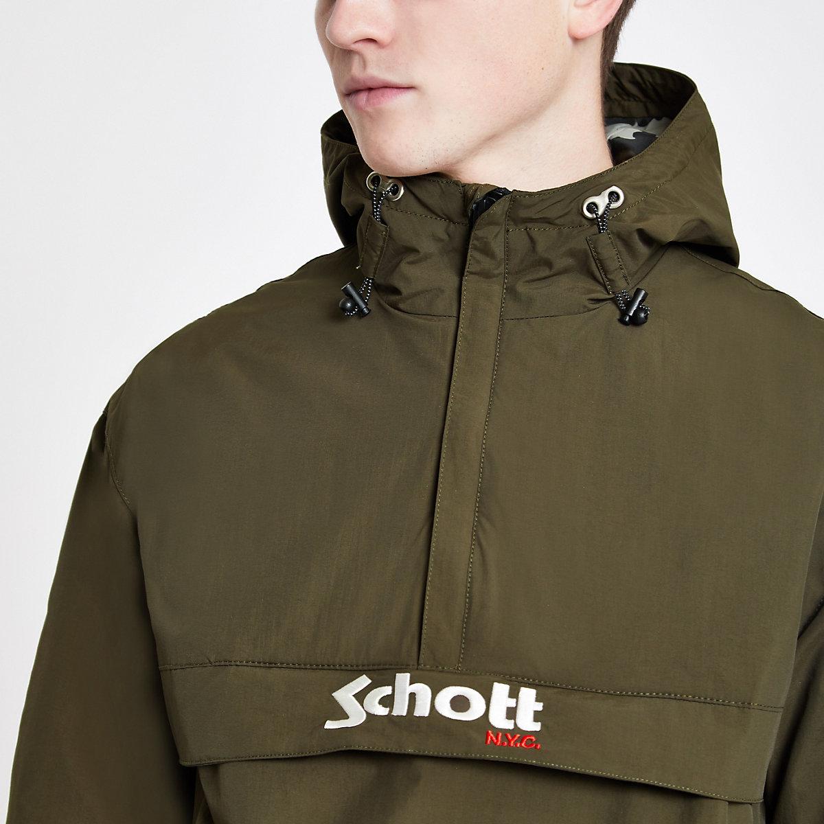 Schott green lightweight hooded jacket