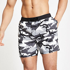 Schott grey camo swim shorts