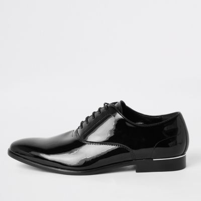 Black Patent Lace Up Derby Shoes by River Island
