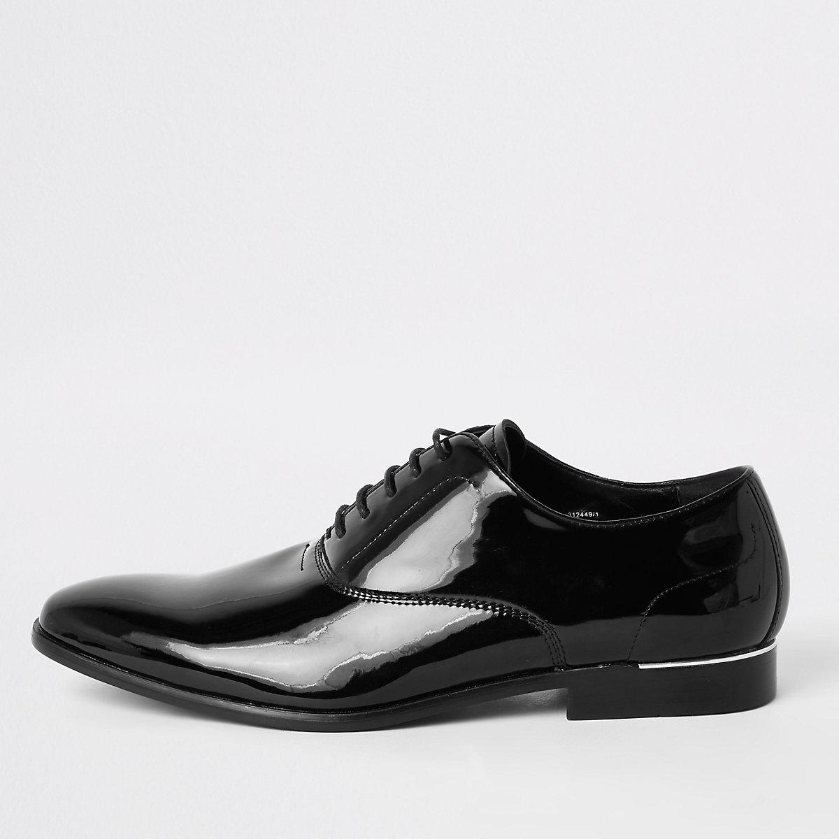 Black patent lace-up derby shoes