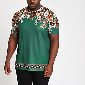 Big & Tall - Groen slim-fit T-shirt met bloemenprint