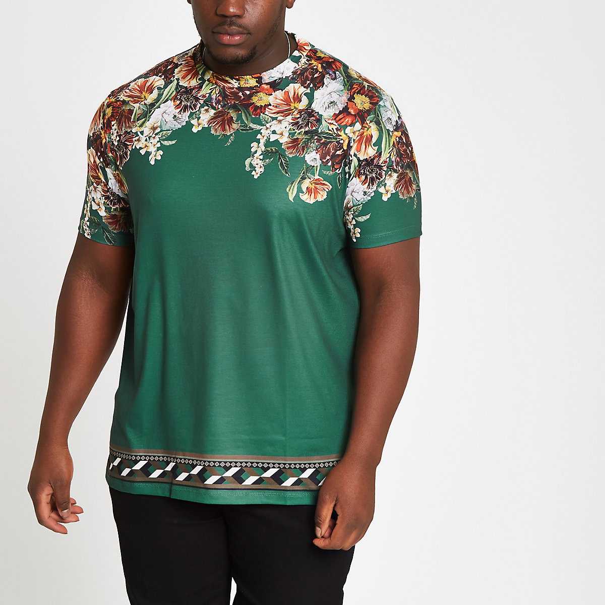 Big and Tall – T-shirt slim à fleurs vert