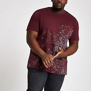 Big and Tall - Rood slim-fit T-shirt met verfspetterprint