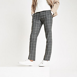 Dark grey check skinny fit smart pants