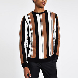 Light brown knit stripe slim fit sweater