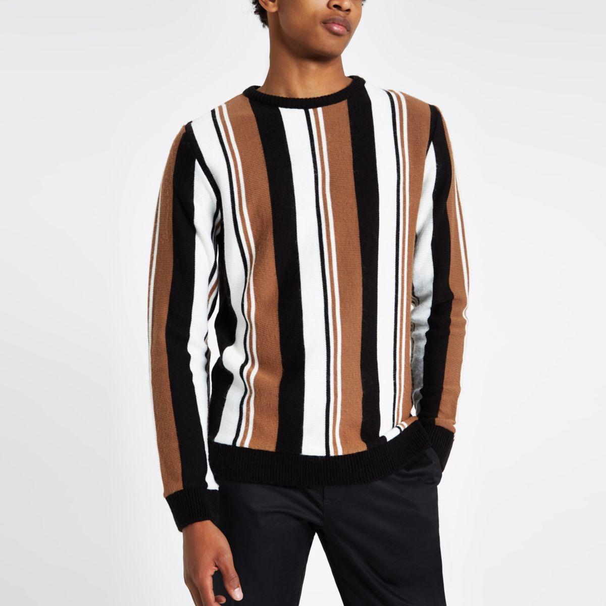 Light brown knit stripe slim fit sweater